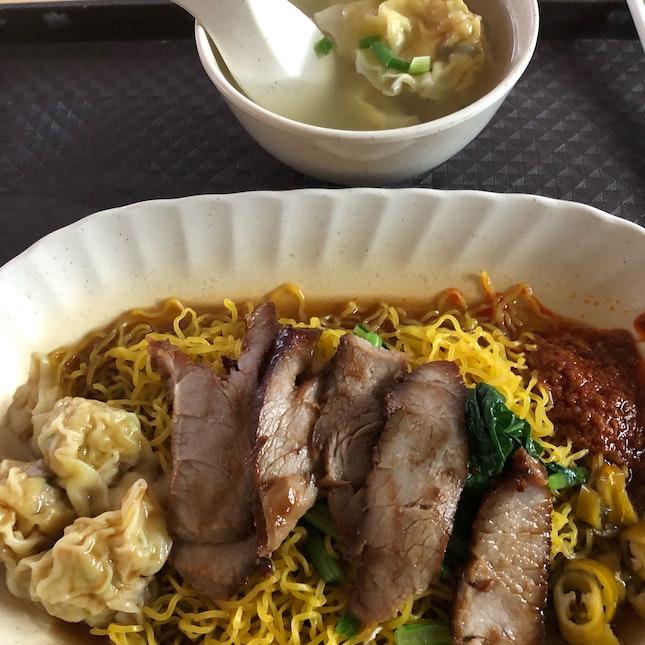 Wanton Mee With Added Meat Dumplings