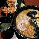 Set lunch @ Ajisen Ramen; Spicy Ramen, Fried Chicken, and Hot Green Tea.