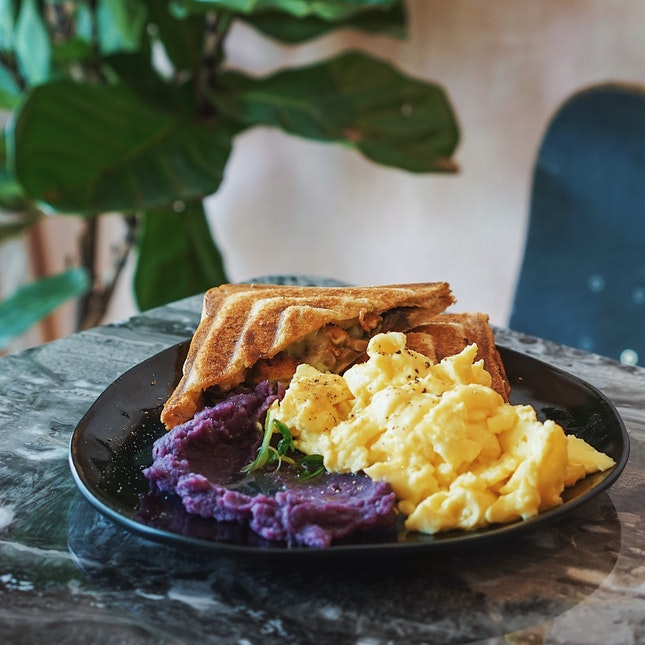 Wholesome Australian Jaffles; Scrambled Eggs Fluffy As A Cloud