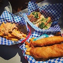 Awesome Fish & Chips, Fish Tacos & Crazy Fries (Baja & Garlic) for lunch in San Fran!!
