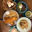 Fish & Chips, Baked Eggs, Wagyu Beef Grain Bowl, Prawn Pasta, Latte & Dirty Shot