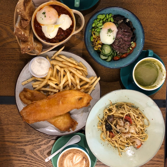 Fish & Chips, Baked Eggs, Wagyu Beef Grain Bowl, Prawn Pasta, Latte & Dirty Shot