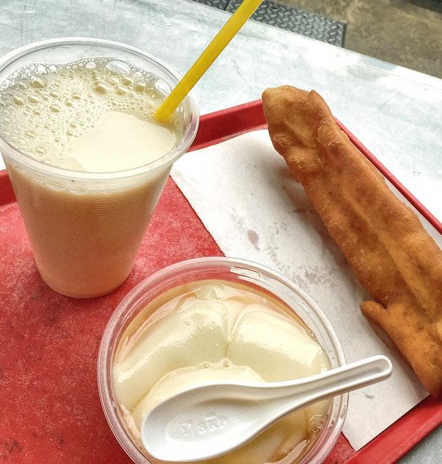 Soya Bean Milk ($1.20), Soya Beancurd ($1.20), You Tiao ($1)