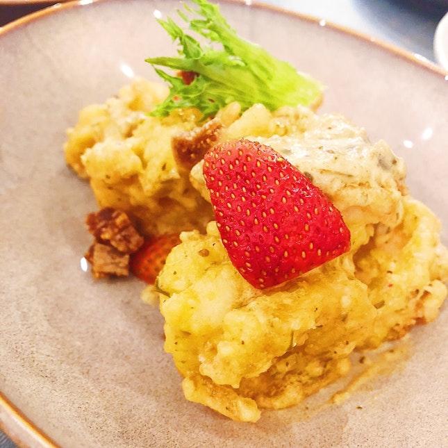 Deep Fried Prawns With Laksa Leaf And Pesto Sauce ($15)
