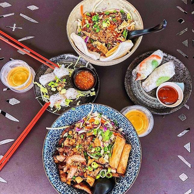 From top, clockwise: Saigon Salmon ($13.80+ or $16+/set), Classic Pork & Prawn Rice Paper ($6.50+), The Signature Pork ($12.80+), Viet Chicken & Prawn Maki Roll ($6.50+).