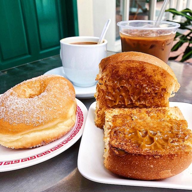 Donut, Kaya toast, Yuan Yang, Kopi Gao ($5.20).