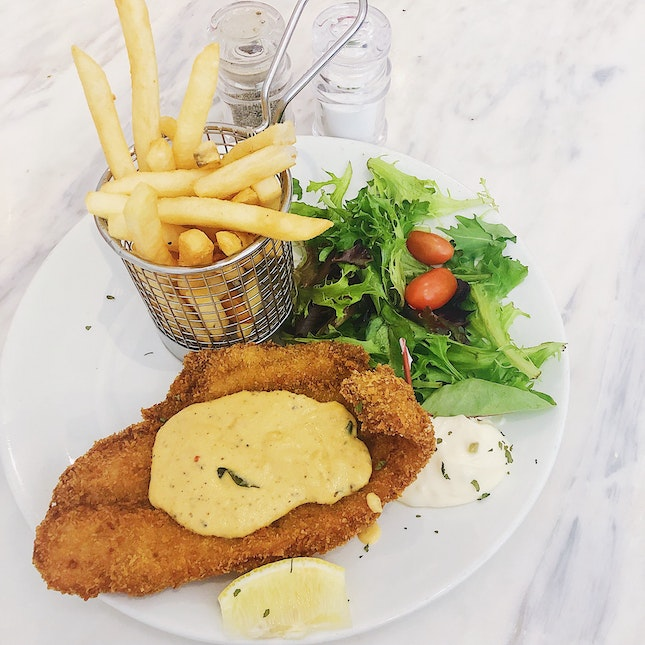 Salted Egg Fish And Chips ($22).