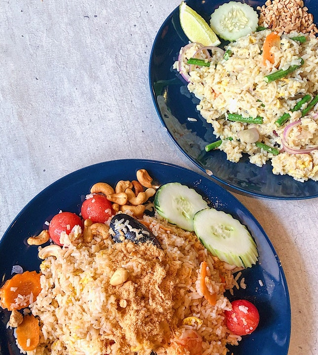 Watermelon fried rice ($14.80), Green curry stir-fried rice with chicken ($14.80)