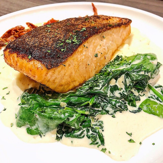 Pan-seared Salmon ($34). •HOSTED TASTING•