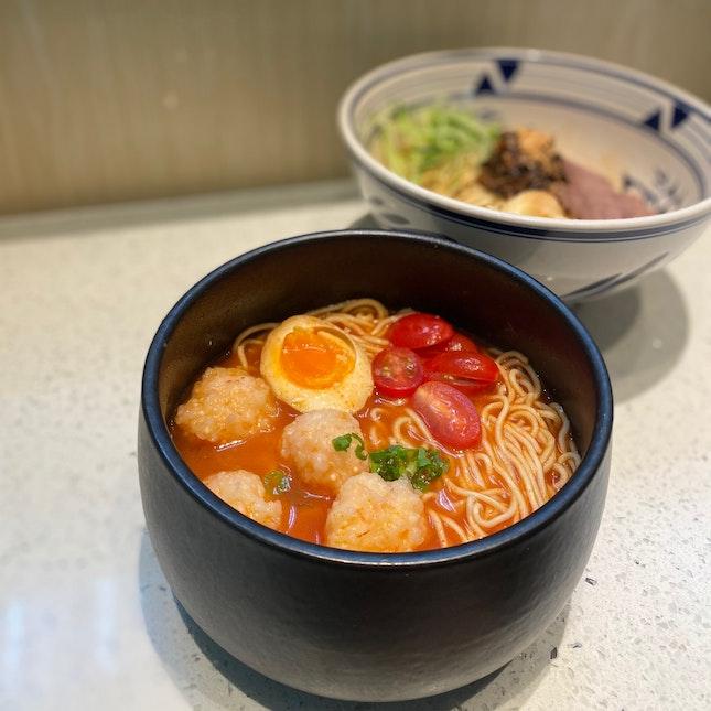 Vinaigrette ebiko prawn paste noodles ($13.90).