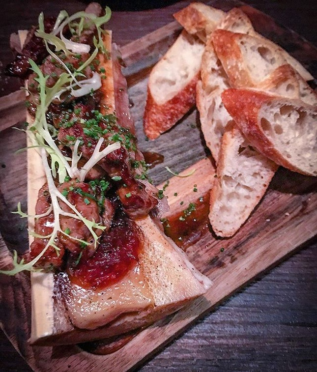 Glorious is Rangers Valley Wagyu beef cubes and bone marrow with toast.