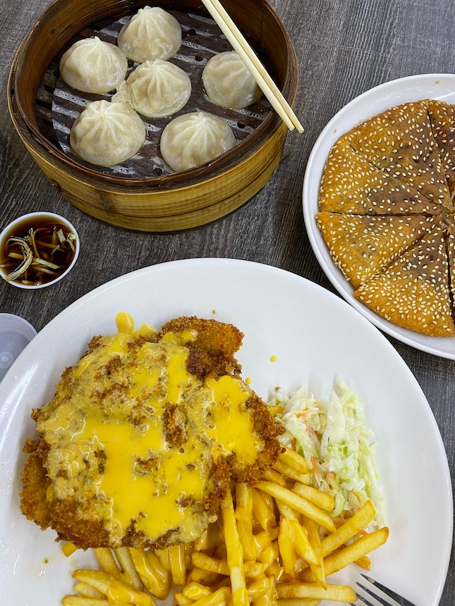 Chicken Cutlet w XLB and Red Bean Pancake