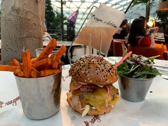 The Mayfair Burger, and B&L Pineapple Iced Tea